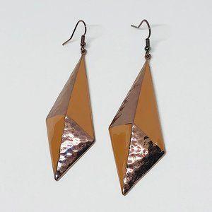 New! Textured Diamond Shape Drop Earrings Brown
